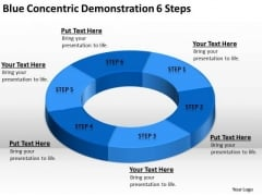 Blue Concentric Demonstration 6 Steps Writing Simple Business Plan PowerPoint Slides