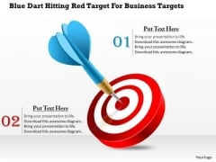 Blue Dart Hitting Red Target For Business Targets Presentation Template