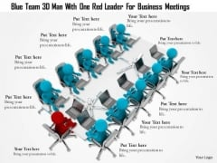 Blue Team 3d Man With One Red Leader For Business Meetings