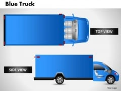 Blue Truck Side View PowerPoint Slides And Ppt Diagram Templates