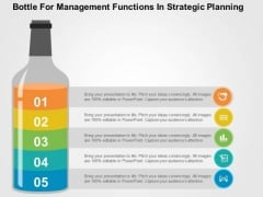 Bottle For Management Functions In Strategic Planning PowerPoint Template