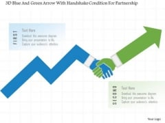 Busines Diagram 3d Blue And Green Arrow With Handshake Condition For Partnership Ppt Template