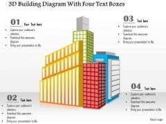 Busines Diagram 3d Building Diagram With Four Text Boxes Presentation Template