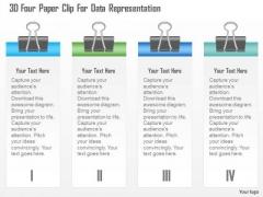 Busines Diagram 3d Four Paper Clip For Data Representation Presentation Template