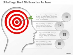 Busines Diagram 3d Red Target Board With Human Face And Arrow Presentation Template