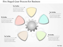 Busines Diagram Five Staged Gear Process For Buisness Presentation Template