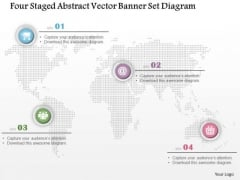 Busines Diagram Four Staged Abstract Vector Banner Set Diagram Presentation Template