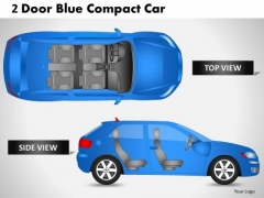 Business 2 Door Blue Car Side PowerPoint Slides And Ppt Diagram Templates