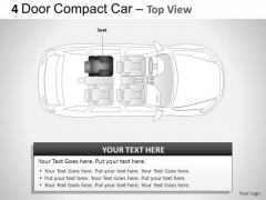 Business 4 Door Blue Car Top View PowerPoint Slides And Ppt Diagrams Templates