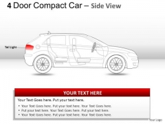 Business 4 Door Red Car Side View PowerPoint Slides And Ppt Diagrams Templates