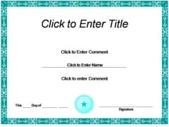 Business Achievement Certificate PowerPoint Templates