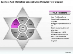 Business And Marketing Concept Mixed Circular Flow Diagram Ppt 6 Sales Plan PowerPoint Slides
