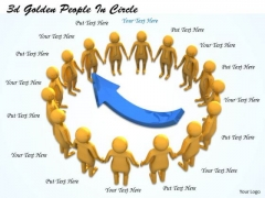 Business And Strategy 3d Golden People Circle Basic Concepts