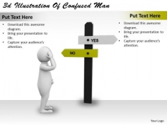 Business And Strategy 3d Illustration Of Confused Man Basic Concepts