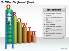 Business And Strategy 3d Man On Growth Graph Character