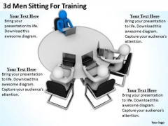 Business And Strategy 3d Men Sitting For Training Concept Statement