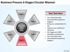 Business And Strategy Process 6 Stages Circular Manner Development Template