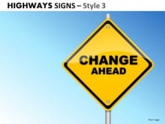 Business Change Highways Signs 3 PowerPoint Slides And Ppt Diagram Templates