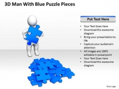 Business Charts 3d Man With Blue Puzzle Pieces PowerPoint Templates Ppt Backgrounds For Slides