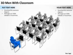 Business Charts 3d Men With Classroom Education PowerPoint Templates