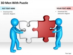 Business Charts 3d Men With Puzzle PowerPoint Templates