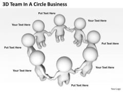 Business Charts 3d Team Circle PowerPoint Presentation Slides