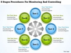 Business Charts 8 Stages Procedures For Monitoring And Controlling PowerPoint Slides