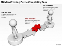 Business Charts Examples 3d Men Crossing Puzzle Completing Task PowerPoint Templates