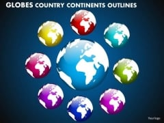 Business Circle Charts PowerPoint Templates Business Globes Country Continents Outlines Ppt Slides