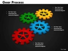 Business Circle Charts PowerPoint Templates Teamwork Gears Process Ppt Slides