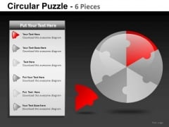 Business Circular Puzzle 6 Pieces PowerPoint Slides And Ppt Diagram Templates
