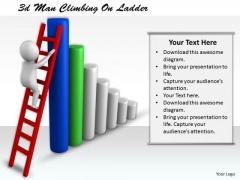 Business Concepts 3d Man Climbing Ladder Character