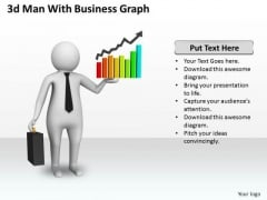 Business Concepts 3d Man With Graph Character