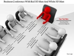 Business Conference With Red 3d Man And White 3d Men
