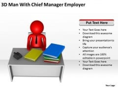 Business Context Diagram 3d Man With Chief Manager Employer PowerPoint Slides