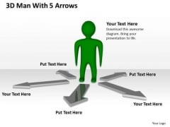Business Cycle Diagram 3d Man With 5 Arrows PowerPoint Templates Ppt Backgrounds For Slides