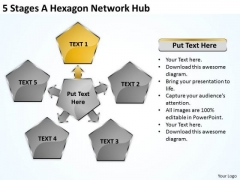 Business Cycle Diagram 5 Stages Hexagon Network Hub Ppt PowerPoint Slides