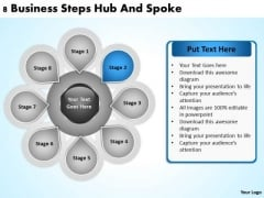 Business Cycle Diagram 8 Steps Hub And Spoke Ppt PowerPoint Templates