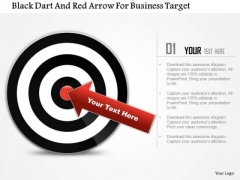 Business Daigram Black Dart And Red Arrow For Business Target Presentation Templets