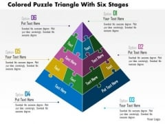 Business Daigram Colored Puzzle Triangle With Six Stages Presentation Templets