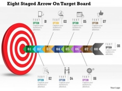 Business Daigram Eight Staged Arrow On Target Board Presentation Templets