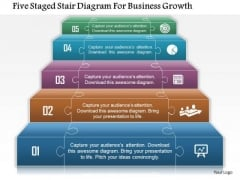 Business Daigram Five Staged Stair Diagram For Business Growth Presentation Templets