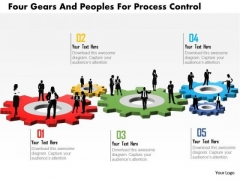Business Daigram Four Gears And Peoples For Process Control Presentation Templets