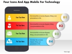 Business Daigram Four Icons And App Mobile For Technology Presentation Templets