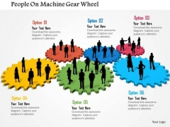 Business Daigram People On Machine Gear Wheel Presentation Templets
