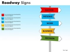 Business Decisions And Success Roadway Signs PowerPoint Slides