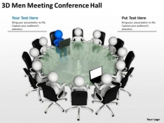 Business Development Process Diagram 3d Meeting Conference Hall PowerPoint Templates