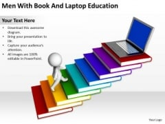 Business Development Process Flowchart 3d Man With Book And Laptop Education PowerPoint Templates