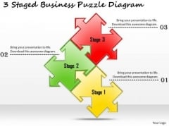Business Development Strategy 3 Staged Puzzle Diagram Strategic Planning Templates