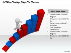 Business Development Strategy 3d Man Taking Steps To Success Concept